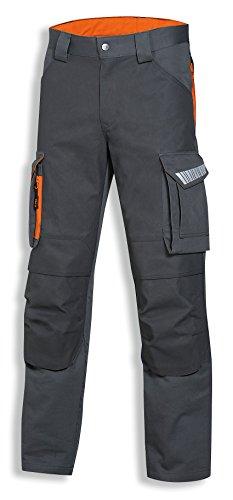 Preisvergleich Produktbild Uvex Safety Arbeitshose metal pro 8938 | Cargohose mit vielen Taschen | Bundhose | Sicherheitshose für Herren | Grau | Orange Reflexeinsätze | Größe 42