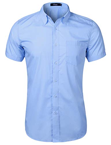 iClosam Hemd Herren Kurzarm Regular Fit Hemden für Anzug, Business, Freizeit, Hochzeit -