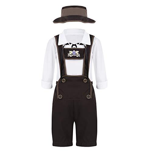 dPois Jungen Kostüm Trachten Kinderkostüm Outfit Trachtenhemd + Lederhose + Hut Kostüm Set für Oktoberfest Halloween Weihnachten Cosplay Party White&Brown 128-140/8-10Jahre