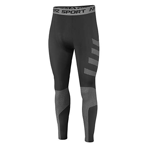 AMZSPORT Legging Sport Homme Collant Running Fitness Pantalon de Compression, Noir XXL