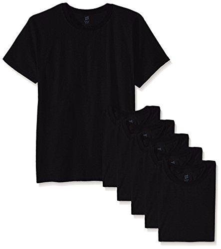 Hanes-Maglietta Comfort morbido (Confezione da 6) Black