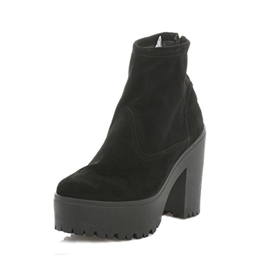 Shellys Donna Nero Meagan Scamosciato Heeled Stivali-UK 5