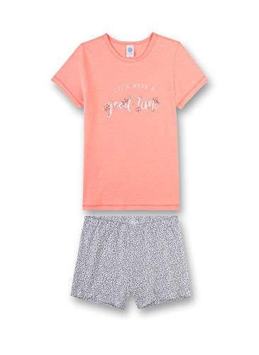 Sanetta Mädchen Schlafanzug kurz Bekleidungsset, Rosa (Neon Peach 3993), Herstellergröße: 176 - Rosa Kurzer Schlafanzug