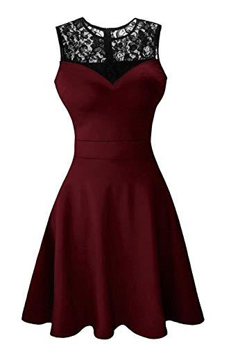 Damen ärmellos Rundausschnitt Falten A-Linie Partykleid Mini Cocktailkleid kurz Festliche Kleid (XL, Wine Red mit schwarzer Spitze) -ausschnitt A-linie Kurz
