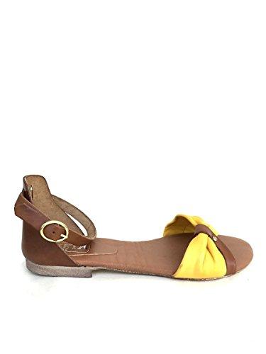 Sandali donna dk03 in pelle nero giallo tacco basso cinturino MainApps Giallo