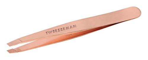 Tweezerman Studio Collection Tweezer Pinzette abeschrägte Spitze Haare rostfreier Edelstahl Augenbrauen Haarentfernung roségold 1256-RGLLT