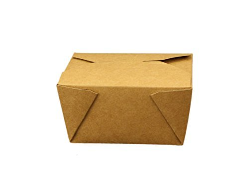 Take Out Containers Easy Fold & Close (Pack of 50) Box #1 Kraft Paper with Poly-coated Inside To-go Containers [30oz - 4.3 x 3.5 x 2.4] by B-KIND