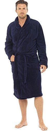Hommes Luxe Doux Corail Peignoir Robe De Chambre Polaire - Bleu marine, Homme, Larg