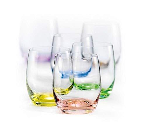Bohemia Kristallgläser, mehrfarbig, Regenbogenfarben, 6 Stück, jeder Sockel verschiedene Farben, 340 ml, bleifrei Tumbler/Club 10-oz Bohemian Club