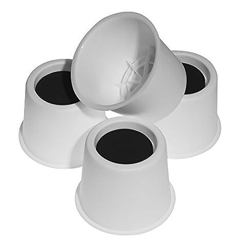 Alicebeauty Lot de 4pieds rehausseurs de lit/meubles pour rangement sous lit Conception solide, Plastique, blanc, 10 cm