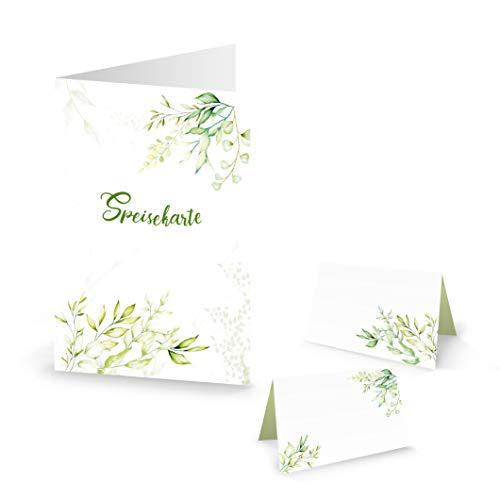 Logbuch-Verlag DIY Tisch-Deko SET: 32 Tischkarten + 12 Menükarten grün weiß Blumenranken Speisekarte Namensschild Hochzeit Kommunion Geburtstag festlich edel für 25-30 Gäste (Hochzeit Diy Essen)