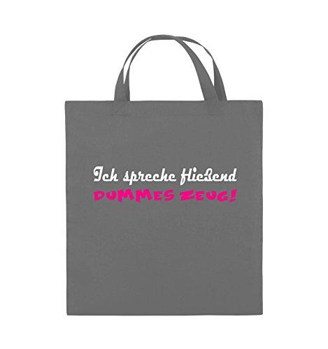 Comedy Bags - Ich spreche fließend dummes Zeug! - Jutebeutel - kurze Henkel - 38x42cm - Farbe: Schwarz / Weiss-Neongrün Dunkelgrau / Weiss-Pink