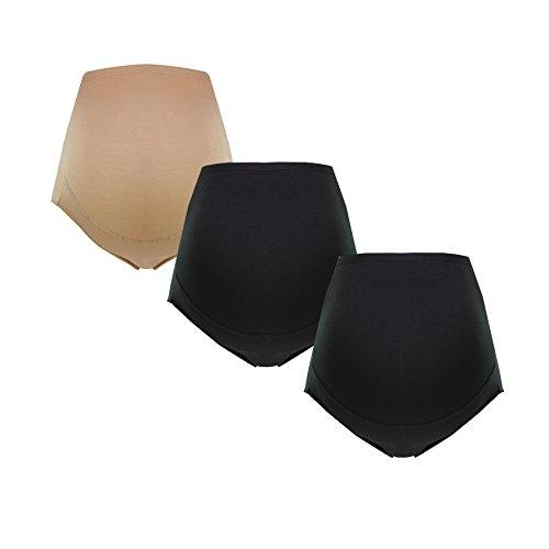 Umstandsslip-Schwangerschaftsslip-Überbauchslip für Damen, im Einzelpack-Doppelpack-Set, aus Baumwolle-Modal, in Schwarz und Beige von HERZMUTTER (5100) (XL, 2x Schwarz/1x Beige)