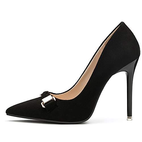 Womens spitze Zehen Stiletto High Heel Slip am Abend High Heel Pump flach 10.5CM,Black-EU35/225 T-strap Dorsay Pump