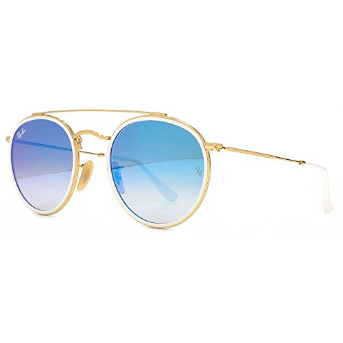 Ray-Ban Round Double Bridge Sunglasses in Gold White RB3647N 001/4O 51