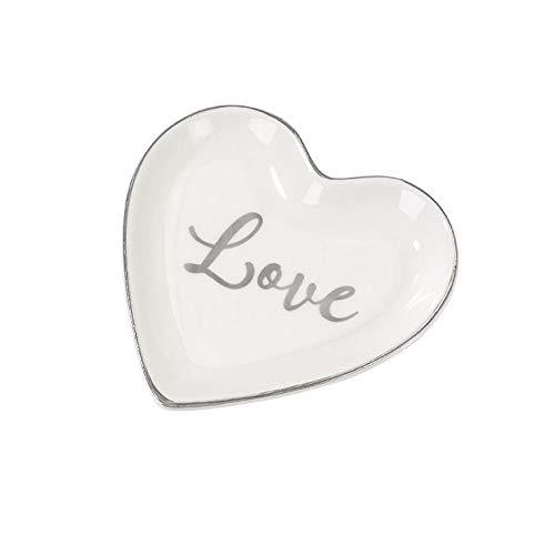 My Weddingshop Ring-Teller Love/Ring-Kissen Alternative/Herz-Teller Love aus Porzellan - Hochzeits-Deko/Zubehör Hochzeit/Liebe / Ehe-Ringe
