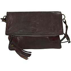 Bolso de mujer de piel, vintage artesanal de cuero simple (negro)