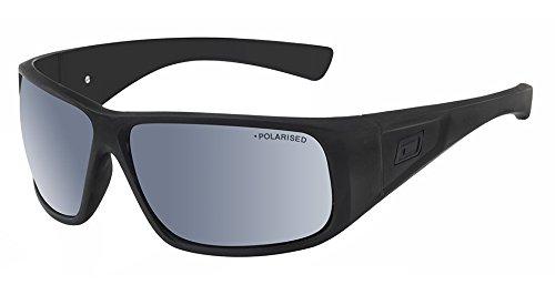 Dirty Dog Ultra Wrap Satin schwarz Sonnenbrille polarisiert Silber Spiegel Objektive 53416