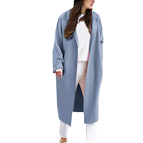Damen Mode Lose Solide Revers Strickjacke Trenchcoat Jacke