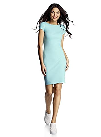oodji Collection Women's Bodycon Dress with Cut-Out Back, Turquoise, UK 12 / EU 42 / L