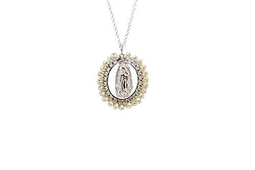 Kokomorocco Medalla Virgen de Guadalupe de Plata de Ley Bordeada de Perlas con Cadena Ajustable Regalos Originales