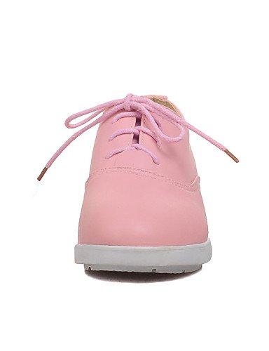 ZQ Scarpe Donna - Stringate - Ufficio e lavoro / Formale - Punta arrotondata - Zeppa - Finta pelle - Nero / Blu / Rosa / Bianco , pink-us8 / eu39 / uk6 / cn39 , pink-us8 / eu39 / uk6 / cn39 black-us5.5 / eu36 / uk3.5 / cn35