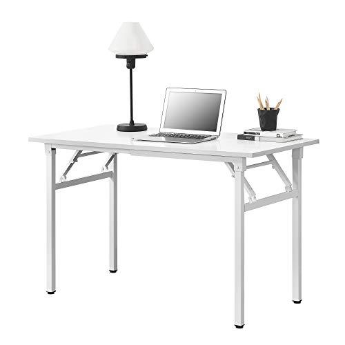 Neu.Haus Mesa extraíble de diseño 120 x 60 cm Altura Ajustable 75-76,4 cm Ahorra Espacio Plegable Mesa pequeña Blanca con Patas Blancas