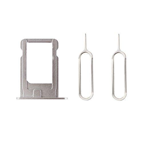 XcellentFixParts Support de Plateau de Carte Sim de Remplacement Nano Tray Holder pour iPhone 5S(Argent) + 2 SIM Card Eject Pins