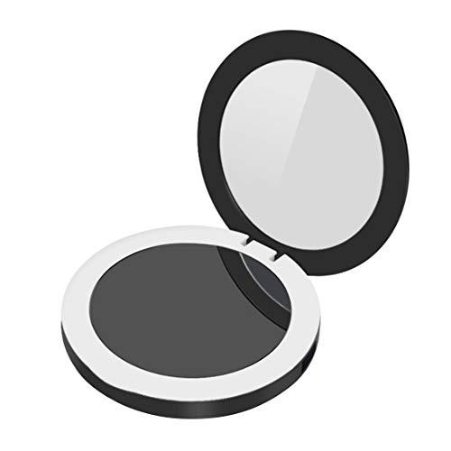 Led lade schatz spiegel tragbare klapp schönheit kosmetikspiegel mit weichem licht füllen licht spiegel led pinsel (farbe: schwarz)