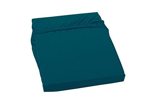 S.Ariba Soft Comfort Baumwolle Jersey-Stretch Spannbettlaken, Verschiedene Farben und Größen, (180x200cm bis 200x200cm, Petrol)