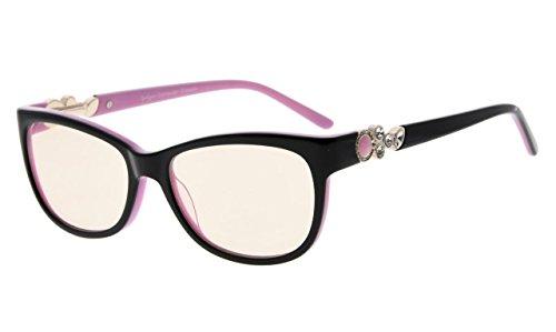 Eyekepper Womens Cat eye Computer Reading Glasses Acetate Frame Blau Light Blocking Eyewear, Amber Tinted Lenses (Schwarz Rosa,+0.00)