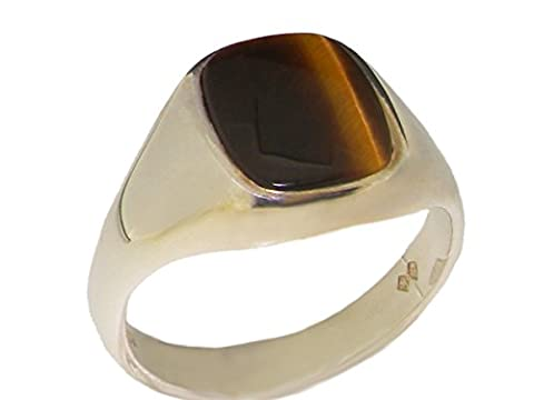 925 Solid Sterling Silver Natural Tigers Eye Mens Gents Signet Ring - Size R - Sizes N to Z+3