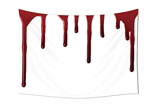 daawqee Tapestry Wall Hanging Flowing Blood Horror Spooky Halloween Zombie Crime Scary Help me Themed Illustration Bedroom Living Room Dorm Red White Unique Home Decor (Le D Crime Halloween)