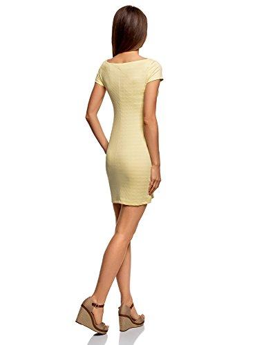 oodji Ultra Damen Kleid aus Strukturiertem Stoff mit U-Boot-Ausschnitt Gelb (5000N)