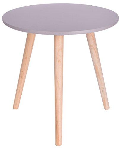 Kleiner Runder Tisch (Holz Beistelltisch grau - 40x39 cm - Deko Tisch klein Couchtisch Sofatisch rund)