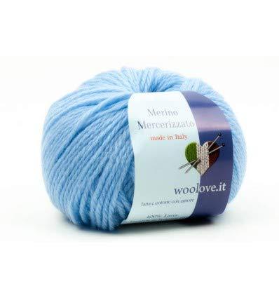 Woolove merino mercerizzato 100% lana lavabile in lavatrice fino a 40°. 11 azzurro