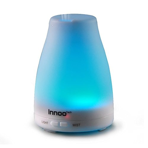 InnooTech Aroma Diffuser 100ml diffuser 7 LED Color Changing Ultrasonic Humidifier Cool Mist Technology Automatic Switch Off Raumbefeuchter for Babies Yoga Nursery Bedroom Office etc.