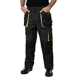 Pantalon de Travail Homme, avec des Poches Genouillere. Pantalon Travail Homme, Vetement Travail, Multi Poches, Grande Taille S - XXXL, Vetement Homme, Noir, Haute qualité (M, Noir/Vert)