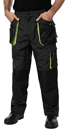 Pantaloni da Lavoro Uomo, Cargo Combat Pantaloni da Lavoro con Tasche al Ginocchio, Taglie Grandi Fino S-3XL, Colori Diversi, qualità (S, Nero/Verde)