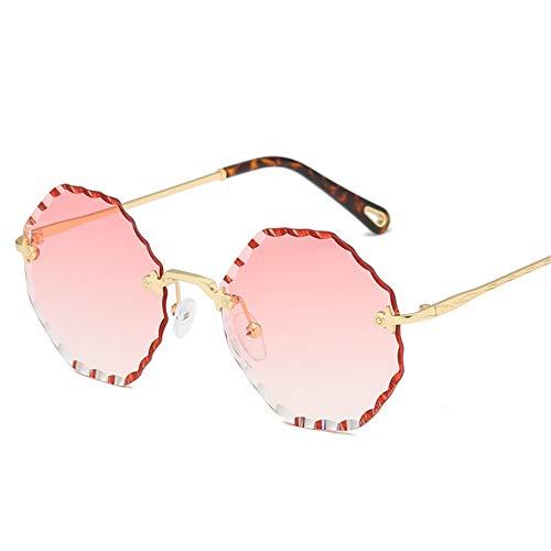 Wenkang Rahmenlose trimmen Hexagon Sonnenbrille Rand Farbverlauf objektiv breites Gesicht Sonnenbrille Mode Frauen Sommer Outdoor Sonnenbrille,2