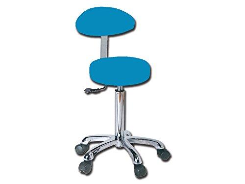 Sgabello con schienale blu per studio medico dentista podologo