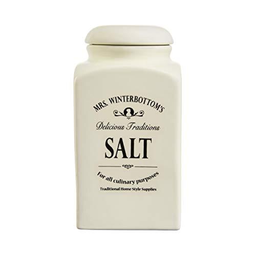 BUTLERS MRS. WINTERBOTTOM\'S Salzdose 1,3 l in Creme - Vintage Vorratsdose aus Steingut im englischen Design - stilvolle, klassische Aufbewahrung
