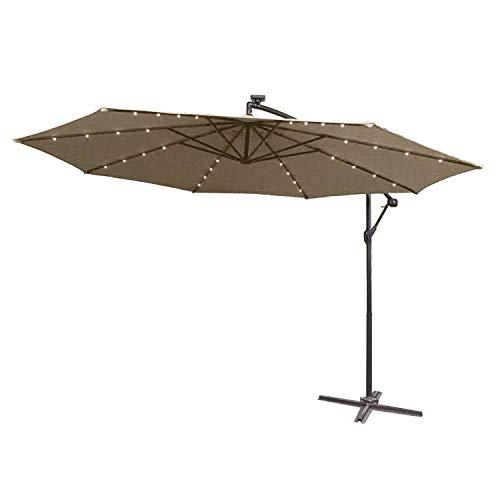 UISEBRT 350cm Alu Sonnenschirme höhenverstellbarer mit Solarbetriebene Warmweiß LED - Khaki Gartenschirm Balkonschirm UV Schutz 40+ (350cm mit solar LED,Khaki)