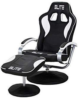 ELITE Deluxe Gaming Sessel MG-300 - Bürostuhl - Gamingstuhl - Streamingstuhl - Drehstuhl - Ergonomisch - Racingoptik - Fußhocker - Chefsessel - Racing (Schwarz/Weiß)