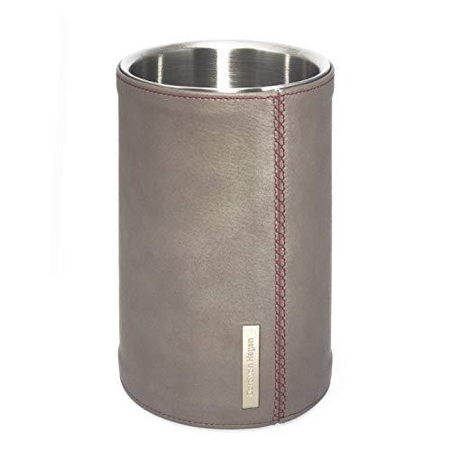 Designer Leder Weinkühler Sektkühler LUX, Premium Edelstahl doppelwandig, mattiert. Außen echt Rindleder Nappa Leder Stone Grau. Handgefertigt in unserem Atelier. H 19,5 Ø 12 cm für 0,7 und 1 Liter