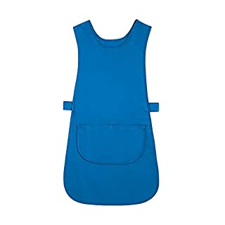 Alexandra STC-W193BL-M Long Length Tabard with Pocket, Plain, 67% Polyester/33% Cotton, Size: Medium, Blade Blue