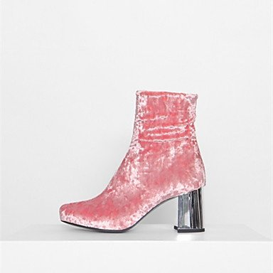 Stivali delle donne Inverno Mary Jane PU Cuoio casuale Wedge Heel Feather Blushing Pink