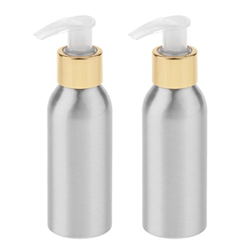 Homyl 2pcs Empty Shampoo Bottle Set With White Pumps, Great Refillable Dispensing Containers for Conditioner, Body Wash, Hair Gel, Liquid Hand Soap, DIY Lotion's and Massage Oil's - Silver, 250ml