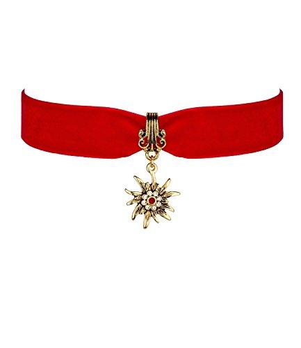 "SIX \""Oktoberfest Kurze enganliegende Damen Halskette Kropfband aus rotem Samt-Stoff, goldenes Edelweiß Wiesn Dirndl (474-318)"