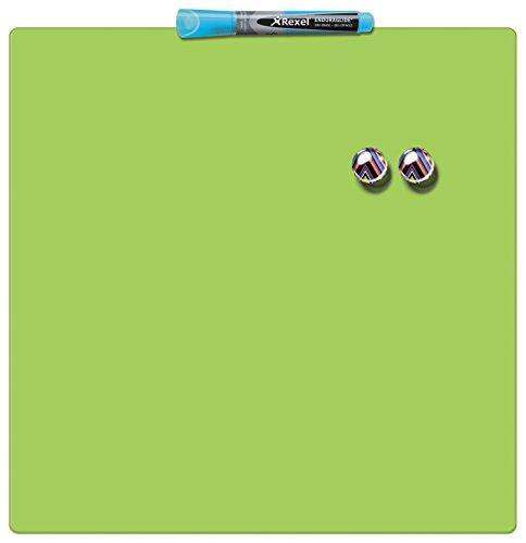 Rexel Magnetische, Trocken Abwischbare Tafel, Rahmenloses Quadrat, 360 x 360 mm, Inkl. Marker, Magneten und Montage-Kit, Grün, 1903773